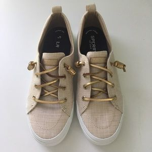 NEW Sperry Crest Vibe Metallic Gold Sneakers